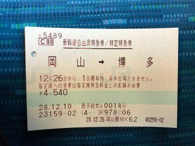 岡山〜博多間の特急券