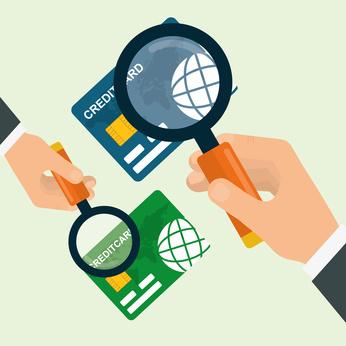 クレジットカードを調査するイラスト