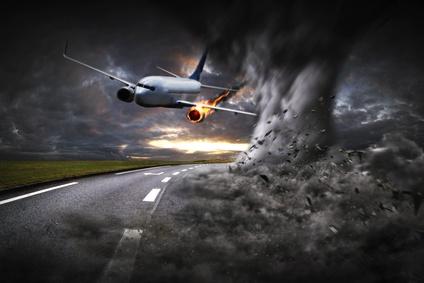 墜落する飛行機のイメージ
