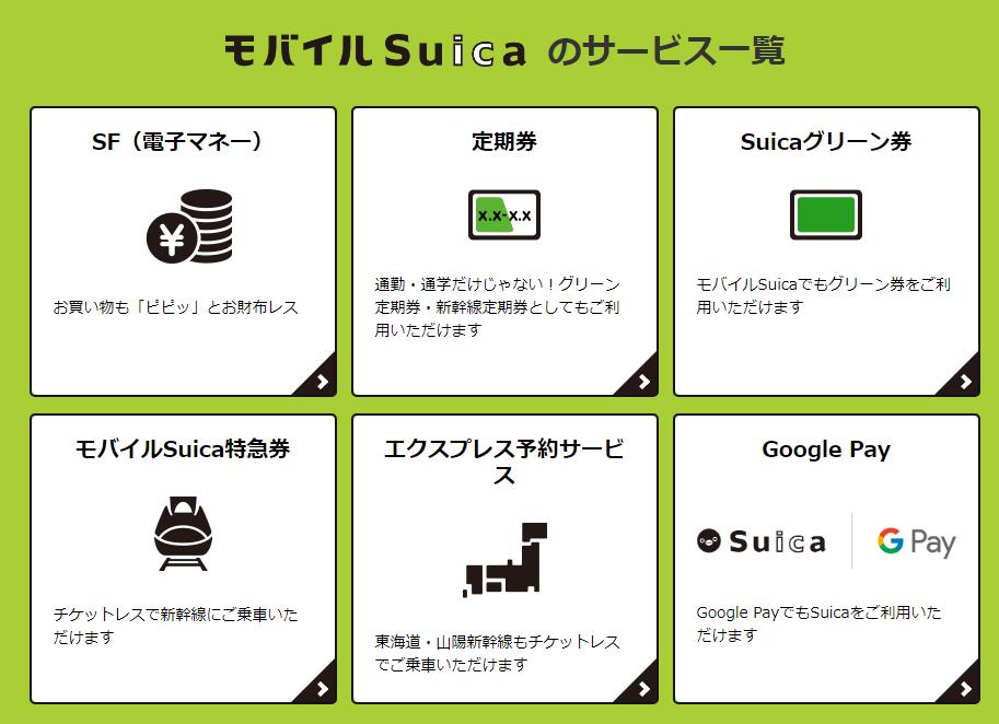 モバイルSuicaのサービス一覧